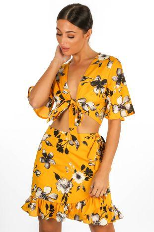Floral Tie Front Crop Top Yellow