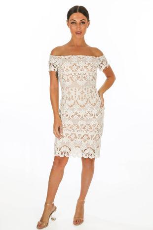 White Bardot Contrast Crochet Mini Dress