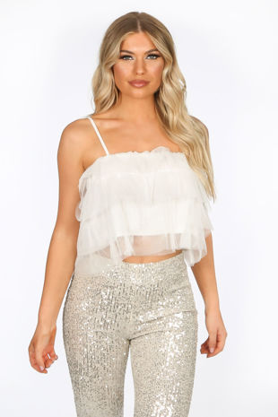 White Layered Tulle Crop Top