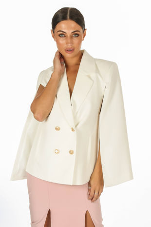White Double Breasted Cape Blazer