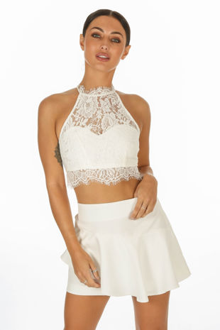 White High Neck Eyelash Lace Crop Top