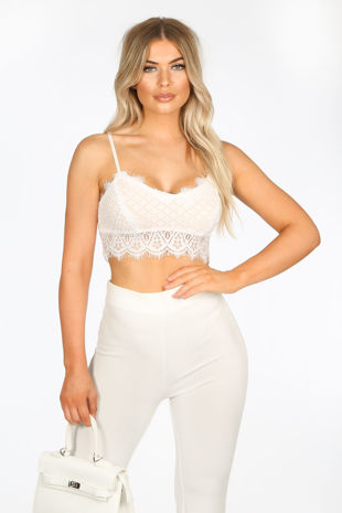 Contrast Lace Crop Top In White