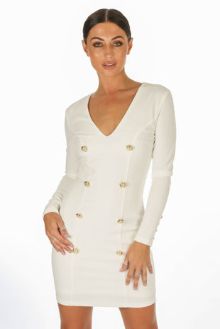 White Long Sleeve Tuxedo Bodycon Dress