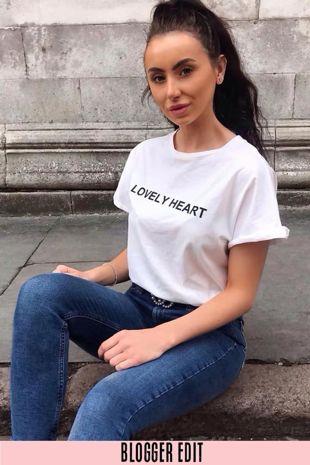 White Lovely Heart Slogan T-Shirt