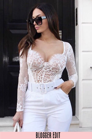 White Long Sleeve Contrast Eyelash Lace Bodysuit
