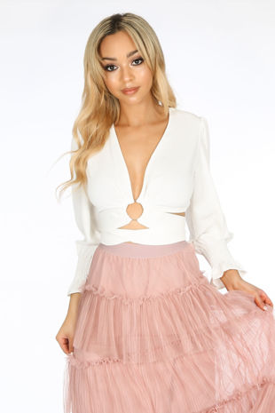 White Wrap Around Long Sleeve Crop Top