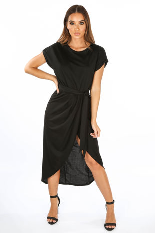 Black Wrap Look Cap Sleeve Midi Dress