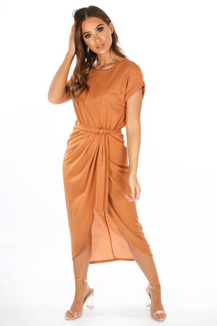 Camel Wrap Look Cap Sleeve Midi Dress