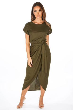Khaki Wrap Look Cap Sleeve Midi Dress