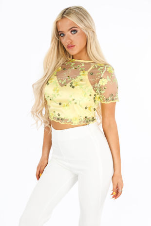 Yellow Embroidered Short Sleeve Crop Top