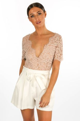 Nude V Neck Contrast Lace Bodysuit