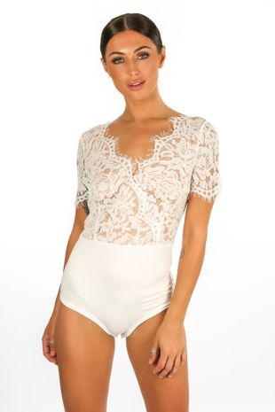White V Neck Contrast Lace Bodysuit