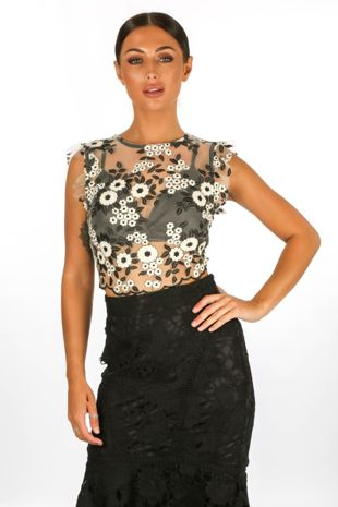 Embroidered Crop Top With Bralet Underlay In Black