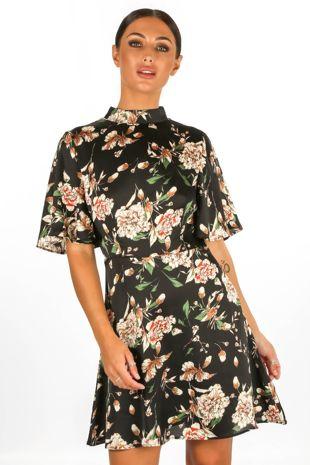 Floral Print Satin Tea Dress In Black