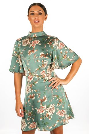 Floral Print Satin Tea Dress In Green