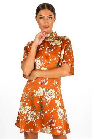 Floral Print Satin Tea Dress In Rust