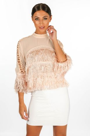 Sheer Mesh & Fringe Long Sleeve Top In Pink