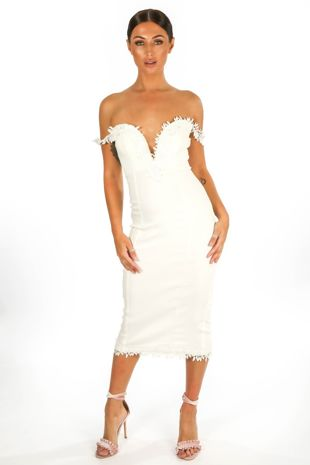 Sweetheart Bengaline Midi Dress In White