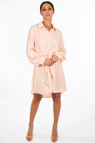 y/352/gcd2076-_Tie_Front_Chiffon_Shirt_Dress_In_Pink__90629.jpg