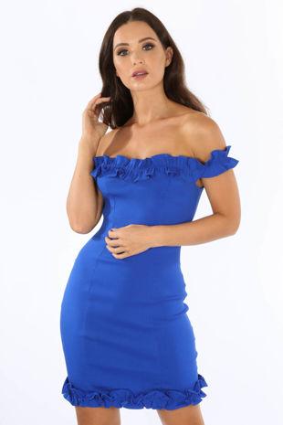 Cobalt Blue Bengaline Bardot Mini Dress