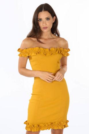 Mustard Bengaline Bardot Mini Dress