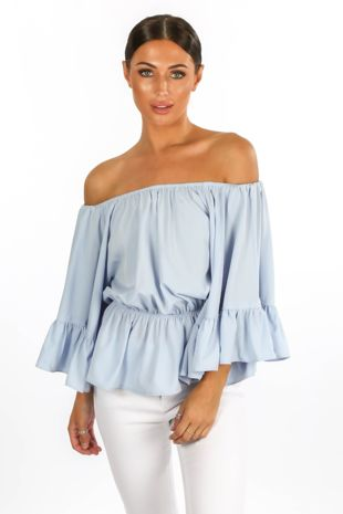 Off The Shoulder Frill Sleeve Top In Blue