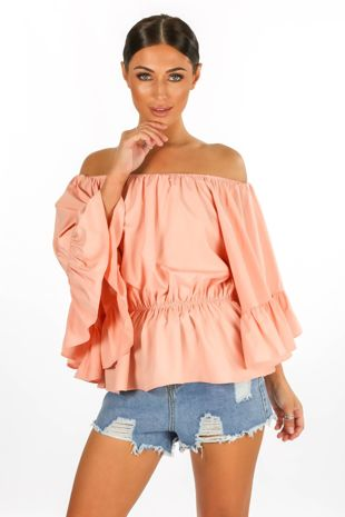 Off The Shoulder Frill Sleeve Top In Pink