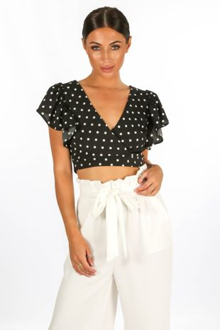 Polka Dot Crop Top In Black