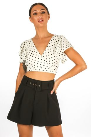 Polka Dot Crop Top In White