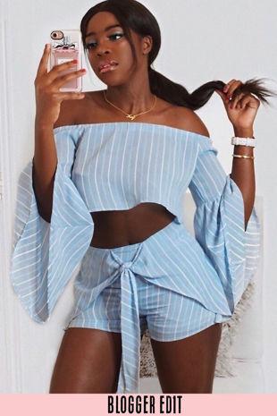 Striped Off The Shoulder Crop Top & Shorts Set Blue