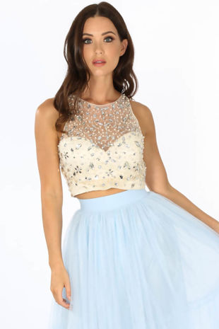 Embellished Bustier Top With Mesh Overlay In Cream