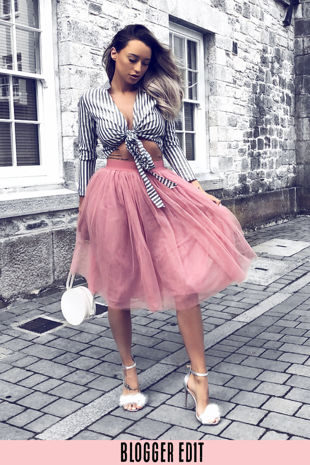 Midi Tulle Skirt In Dusky Pink