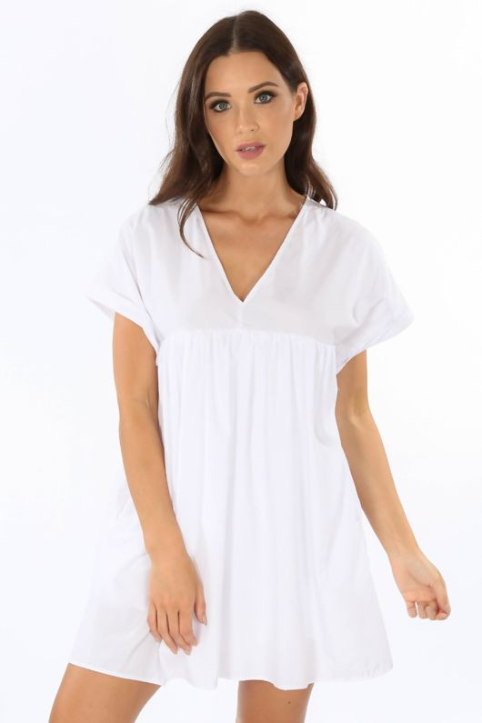 Oversized Cotton Playsuit With Dress Overlay White