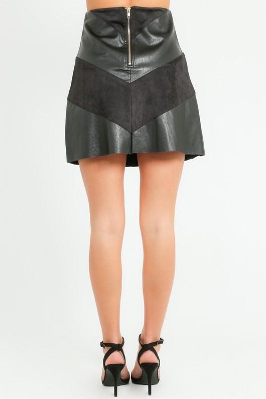 d41336959d PU & Faux Suede Contrast A-Line Skirt In Black