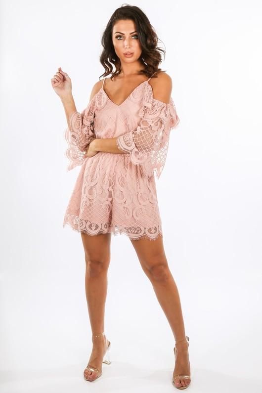 u 790 11531- Cold Shoulder Grid Lace Playsuit In Pink  22645.jpg