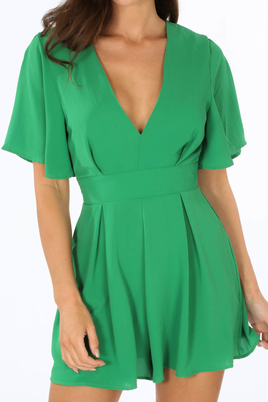Green Tie Back Floaty Playsuit
