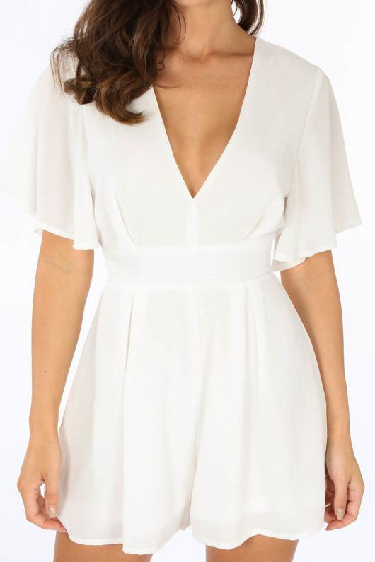 White Tie Back Floaty Playsuit