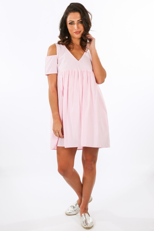 s/812/11616-_Cold_Shoulder_Oversized_Cotton_Playsuit_With_Dress_Overlay_In_Pink__98453.jpg