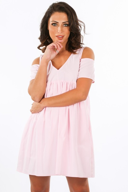 f/241/11616-_Cold_Shoulder_Oversized_Cotton_Playsuit_With_Dress_Overlay_In_Pink-2__45131.jpg