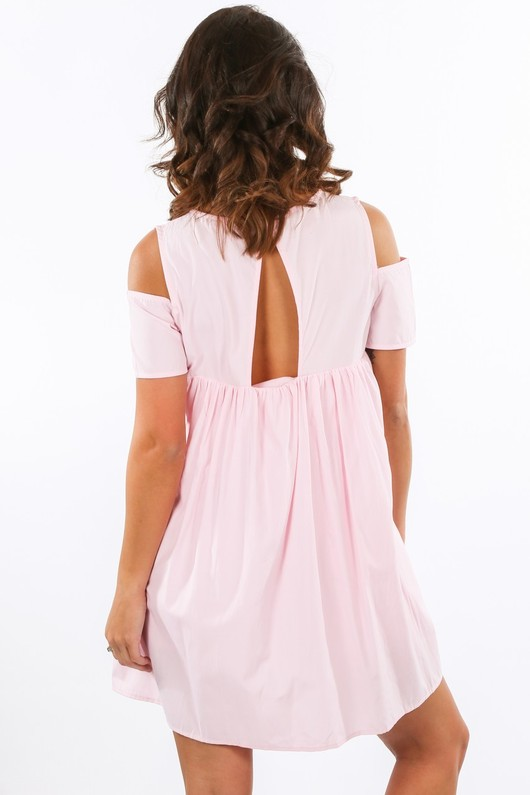 x/982/11616-_Cold_Shoulder_Oversized_Cotton_Playsuit_With_Dress_Overlay_In_Pink-3__91536.jpg