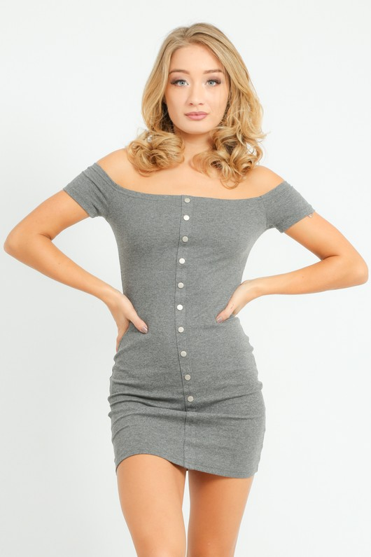 5999348f37e57 Off The Shoulder Jersey Mini Dress In Dark Grey