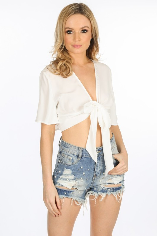 23282a28870 Tie Front Short Sleeve Crop Top In White