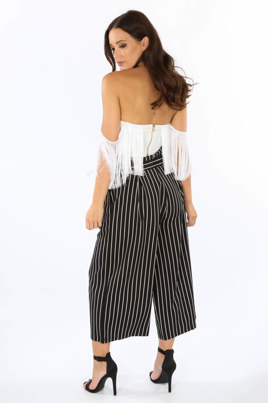 Black Cropped Pinstripe Paper Bag Trousers