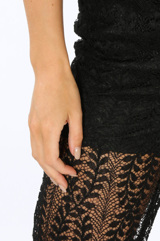 Black Lace Sheer Panel Trousers