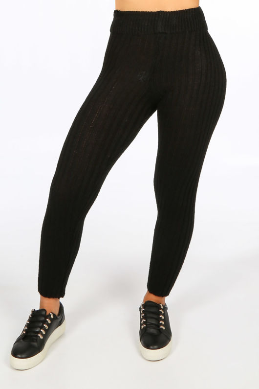 Black Knitted Longline Jumper & Leggings Set