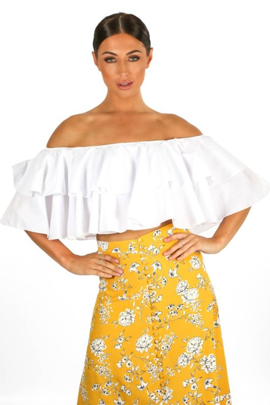 White Off The Shoulder Full Frill Crop Top