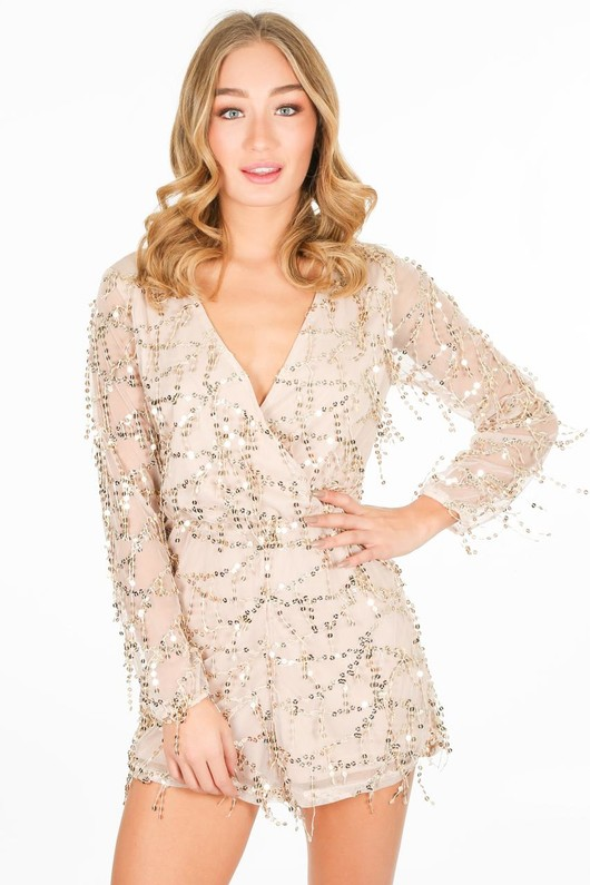 13ad56fc8a Nude Sequin Cross Over Playsuit