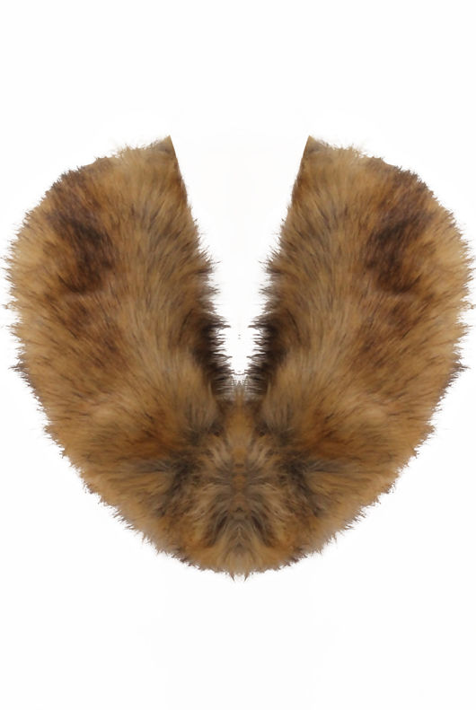 Faux Fur Mid Length Collar In Taupe