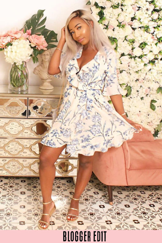 Summer Floral Ruffle Wrap Look Day Dress In Nude