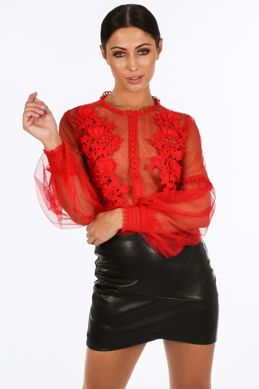 7ecb37f988f Red Long Sleeve Sheer Applique Bodysuit